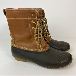 Khombu Letty Brown Tan Leather Lace Up Duck Boots